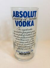 """Absolut Vodka Promotional Collectible 1 Liter Glass Tumbler 7"""" Tall"""