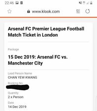 2x Arsenal FC VS Manchester City Football Match Ticket
