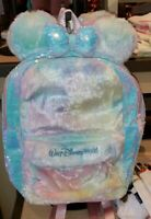 New Disney Parks Minnie Ears Sequin Cotton Candy Tie Dye Fluffy Backpack Bag