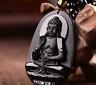 Amitabha obsidiana negra tallada Buda amuleto de la suerte colgante collar