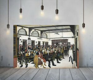 LOWRY STYLE ANCOATS HOSPITAL -FRAMED CANVAS WALL ART PICTURE PAPER PRINT- BROWN