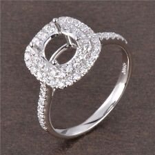 Round Cut 6.5mm Solid 14K White Gold Natural Full Cut Diamonds Semi Mount Ring