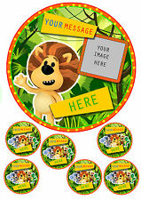 "RaaRaa THE NOISY LION PERSONALISED CAKE TOPPER ADD PHOTO 7.5""ROUND&TOPPERS ICING"