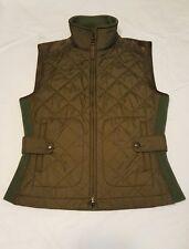 Ralph Lauren Women's Quilted Green Equestrian Vest Brown Suede Trim Large XS