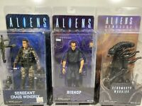 """Lot Of 3 Aliens Xenomorph Warrior, Bishop, Craig Windrix 7"""" Action Figures New"""