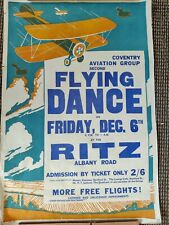 More details for superb large interwar 1920s 1930s coventry aviation group flying dance poster