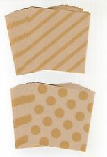 40pcs Brown Craft Dot Stripe Square Origami Paper, 2 designs, ~7.5cm x 7.5cm
