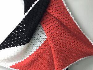 HANDMADE CROCHET RED, WHITE AND BLUE STRIPE AFGHAN LAP BLANKET THROW 60x60 Inche