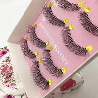 5 Pairs Handmade Natural Long Cross Eye Lashes Makeup Thick Fake False Eyelashes