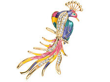 Silver Crystal Elements Pastel Colorful Perch Phoenix Bird Fashion Pin Brooch