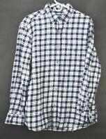 Chaps Mens Large Plaid Flannel Long Sleeve Button Down Dress Casual Shirt Blue