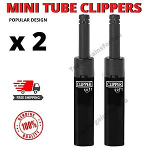 2x CLIPPER LIGHTERS SET REFILLABLE MINI TUBE LONG REACH NOSE GAS FOR CANDLES etc