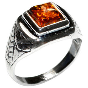 2.8g Authentic Baltic Amber 925 Sterling Silver Ring Jewelry N-A7197 s.7