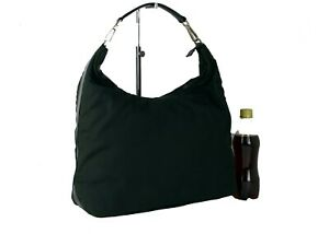 Authentic GUCCI Green Nylon Leather Hobo One Shoulder Bag Hand Bag Italy Used