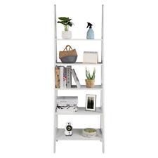Ladder Shelf, 5-Tier Multifunctional Wood Plant Flower Book Display Shelf White