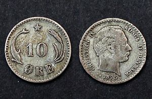 10 Ore 1875 Danemark/ Danmark. Christian IX. Argent. KM#795.1