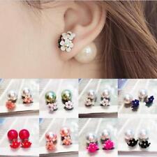 Fashion Womens Jewelry Double Sided Pearl Daisy Earrings Big Ball Beads Ear Stud