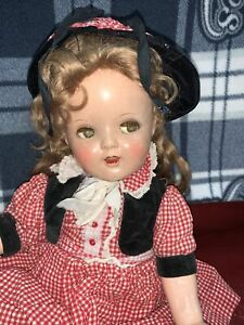 """20""""  FLIRTY EYED - Composition Cloth Doll - Mohair Wig Teeth Unmarked"""