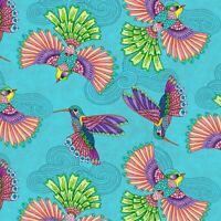 Wilmington Prints Rainbow Fight Teal Birds Allover 100% Quilting Cotton Fabric