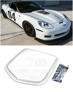 For 05-13 Corvette C6 | ZR1 Style Front Clear Window Heat Extractor Hood Insert