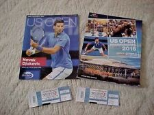 US Open 2016 Tennis Open Daily & Program Plus 2 Used Tickets Novak Djokovic  NYC