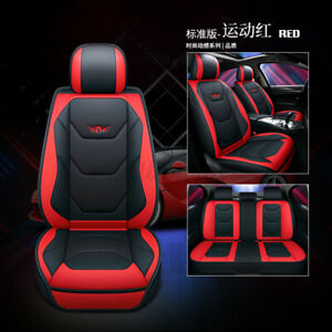 1pcs Universal PU Leather Front Car Seat Covers Mat Pad Breathable Cushion Red