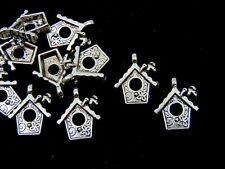 10 Pcs Tibetan Silver Bird Box Charms Jewellery Nesting House Cute 15mm A149