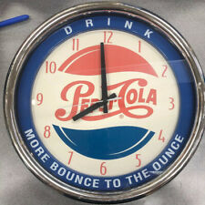 """Vintage blue/silver Pepsi MORE BOUNCE TO THE OUNCE 1997 analog wall clock 15"""""""
