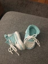 Babyschuhe Chucks Handmade Pastell Aqua Biobaumwolle bis ca 6 Monate