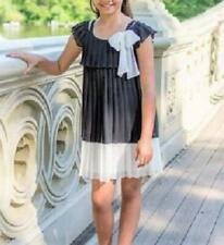 BONNIE JEAN® Girls' 8 Black & White Off Shoulder Chiffon Dress NWT $62