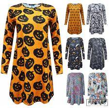 Womens Ladies Plus Size Halloween Swing Skater Dress Skulls Fancy Dress 8-26