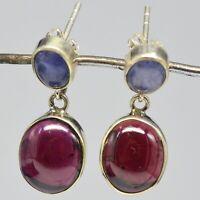 925 Sterling Silver Tanzanite, Garnet Gemstone Earrings 5.43 gms Jewelry CCI