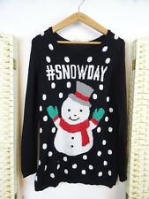 CHRISTMAS  MARKED SNOWDAY sparkly snowman long acrylic sweater jumper S/XS