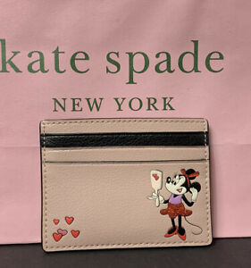 Kate Spade x Disney Minnie Mouse Small Slim Leather Cardholder New