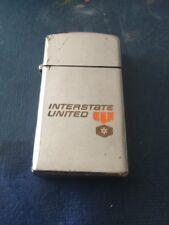 Vintage 1977 slim Chrome INTERSTATE UNITED Trucking Co advertising Zippo Lighter