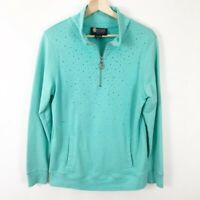 Christine Alexander Crystal Embossed Turquoise 1/4 Zip Pullover Sweatshirt Top