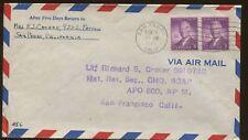 1946 San Pedro California General Headquarters Supreme Commander Air Mail Cover