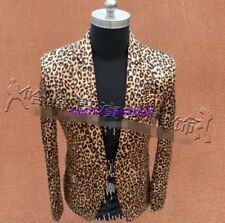 Mens Leopard Suit Blazer Nightclub Bar Coat Slim Fit Jacket Party Stage Costume