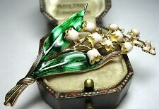 Vintage Style Lovely LILY OF THE VALLEY Flower Enamel Jewellery BROOCH Pin