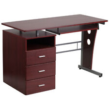 Computer Desk w/ File Cabinet Pedestal, Pull-Out Keyboard in Laminated Mahogany