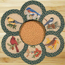 "SONG BIRDS 100% Natural Braided Jute 10"" Trivet/Placemat, Set of 6 in Basket"