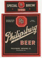 Philipsburg Brewing Beer label with neck Irtp U# Pa
