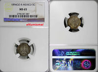 Mexico Silver 1896  Go R  5 Centavos  BU NGC MS65 TOP GRADED BY NGC  KM# 398.5