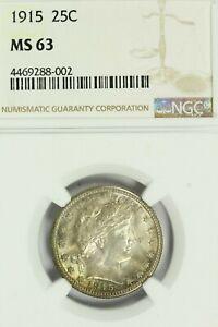 1915 Barber Quarter : NGC MS63