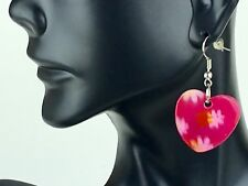 Hook Earrings Beautiful Fashion - New Hand Painted Mother of Pearl Heart Shape