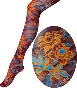 Vivienne Westwood Japan Pantyhose Stocking Floral Tiger Tights-Burgundy-Size M-L