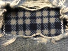"""Set of 2 Blue Plaid 4"""" x 4"""" Iron on Peek-A-Boo Jean Patches"""