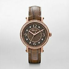 NIB RELIC by FOSSIL Caroline Rose Gold Tone Glitz Brown Leather Strap Watch