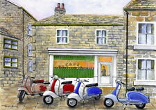The Italian Job - Visits Sids Cafe, Holmfirth - Scooter, Vespa, Lambretta Print
