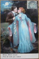 1907 Color Litho Postcard: Lovers in the Moonlight/Moon